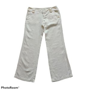 - Guess Linen Flare Low Rise Pants Size Small